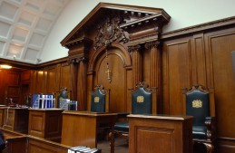 Typical courtroom in the old part of the Old Bailey.